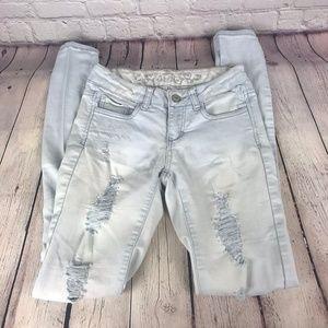 Wax Jean Distressed Light Wash Skinny Jeans Sz 1